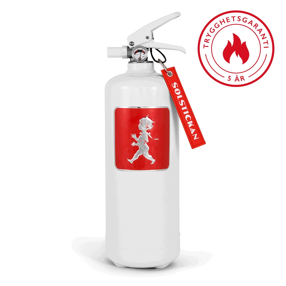 Solstickan pulversläckare vit med rött emblem
