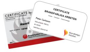 giltiga certifikat heta arbeten