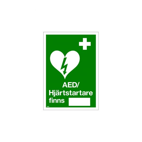 Nödskylt AED hjärtstartare